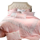 bedding set 7pcs lace embroidered duvet cover flat sheet 4 pillowcases princess image