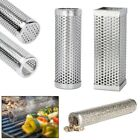 6/12Inch Round BBQ Stainless Steel Perforated Mesh Smoker Tube Filter Gadget US