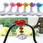 Heart Shape Cute Smile Face Nurse Quartz Clip-on Fob Pocket Brooch Watch image