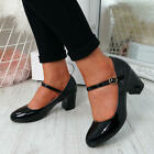 WOMENS LADIES MARY JANE PUMPS MID BLOCK HEEL BUCKLE STRAP PATENT OFFICE SHOES