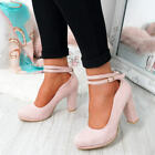 WOMENS LADIES ANKLE STRAP HIGH BLOCK HEELS ROUNDED TOE PUMPS OFFICE SHOES SIZE