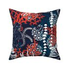 Nautical Sea Life Blue Red Throw Pillow Cover w Optional Insert by Roostery
