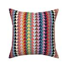 Tribal Geometric Boho Triangles Throw Pillow Cover w Optional Insert by Roostery