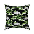 Flying Swans Sashiko Inspired Throw Pillow Cover w Optional Insert by Roostery