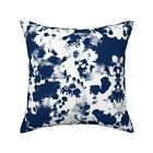 Modern Indigo Painted Look Navy Throw Pillow Cover w Optional Insert by Roostery