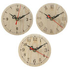 Numerals Quartz Wooden Round Wall Clock Vintage Style Living Room Retro Small