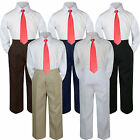 3pc Red Tie Shirt Suit Outfit for Baby Boy Toddler Kid Pants Color by Selection