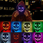 Halloween LED Glow Mask 3 Modes EL Wire Light Up The Purge Costume Cosplay Props
