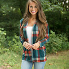 Women Long Sleeve Loose Flannel Plaid Blouse Outwear Casual Lady Shirt Coat Tops