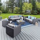 6pcs Rattan Wicker Sofa Set Sectional Couch Cushioned Furniture Patio Outdoor Us