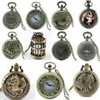 Steampunk Retro Classic Men Bronze Quartz Pocket Watch Pendant Necklace Gift New image