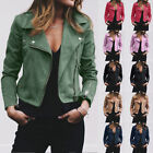 Women's Ladies Suede Leather Jacket Coat Ladies Zip Up Biker Casual Tops Clothes