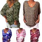 Plus Size Women Camo V Neck Blouse Leopard T Shirt Casual Long Sleeve Loose Tops
