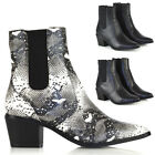 New Womens Low Heel Cowboy Style Chelsea Boots Ladies Point Toe Ankle Booties