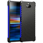 For Sony Xperia 10 Plus Shockproof Metal Bumper Carbon Fiber Hybrid Case Cover