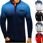Mens Long Sleeve Polo Shirts Golf Classic Fit Tops Blouse T-shirt Holiday US