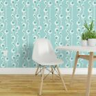 Wallpaper Roll Mod Bubble Fishing Mid Century Blue Geometric Fish 24in x 27ft