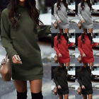UK Women Autumn Knitted Baggy Sweater Jumper Mini Dress Winter Long Pullover Top