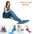 Mermaid Tail Sofa Blanket Soft Warm Hand Crocheted Knitting Wrap For Adult Kids image