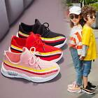 Kids Girls Boys Striped Mesh Athletic Trainers Lace Up Sneakers Running Shoes
