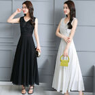 Women's Chiffon Big Swing Long Skirt Slim Lace Dress Cocktail Evening Prom Gowns