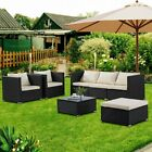 5/6pcs Patio Rattan Wicker Sofa Set Cushined Couch Furniture Outdoor Garden New