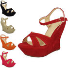 Womens Sandals Ladies High Platform Wedge Heel Strappy Faux Suede Shoes New Size