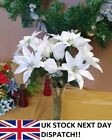 POINSETTIA & ROSE White & Silver Glitter Bouquet Flower Christmas Ivy 7 Head