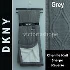 """NWT DKNY Throw Blanket Chenille Knit w/ Sherpa Reverse 50""""X60"""" ~ Pink & Grey image"""
