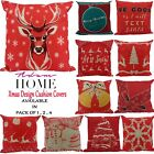 Christmas Cushion Covers Festive Red Xmas Square Pillow Case Sofa Throw Cushion