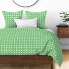 Snowflake Mint Green Soft Lime Green Olive Green Sateen Duvet Cover by Roostery