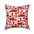 Fireman Firetruck Career Throw Pillow Cover w Optional Insert by Roostery
