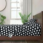 Dots Retro Black And White Polka Dot 100% Cotton Sateen Sheet Set by Roostery