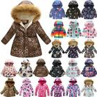Winter Kids Girls Coat Padded Warm Floral Jacket Fur Collar Outwear Hooded 2 12Y