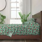 Robin Holiday Snowflake Bird Holly 100 Cotton Sateen Sheet Set by Roostery