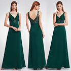 Ever-pretty US Long Deep V-neck Applique Spaghetti Straps Bridesmaid Dress 07190