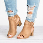 Women Fashion Peep Toe Low Block Heels Ankle Buckle Sandals Casual Boots Shoes