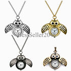 Vintage Bronze Retro Owl Pocket Watch Quartz Necklace Steampunk Men Women Gift image