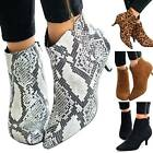 Womens Pointy Ankle Boots Low Mid Kitten Heels Stretch Ladies Zip Shoes Size