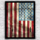 American Flag USA Rustic Style Patriotic Wall Art Print - Size and Frame Options