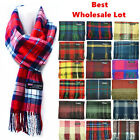 Winter Unisex 100 Cashmere Striped Wool Scarf Scotland Made Plaid Scarves Lot