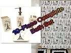 19-Piece Complete Bathroom Set Rugs Shower Curtain Hooks Ceramic All Included!!!