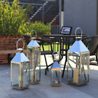 Small Medium Large Chrome Lanterns Glass Metal Silver Candle Holders Decor Lamp