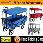 Folding Wagon Cart Utility Garden Cart Collapsible Outdoor Foldable Trolley Roof