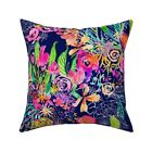 Vibrant Floral Fabrics Neon Throw Pillow Cover w Optional Insert by Roostery