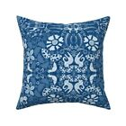 Indigo African Elephants And Throw Pillow Cover w Optional Insert by Roostery