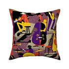 Jazz Music History Of Jazz Throw Pillow Cover w Optional Insert by Roostery