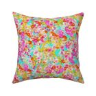 Turquoise Floral Flower Throw Pillow Cover w Optional Insert by Roostery