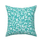 Abc Kid' Text Back To School Throw Pillow Cover w Optional Insert by Roostery
