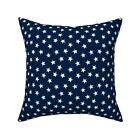 Navy Stars Blue Patriotic Throw Pillow Cover w Optional Insert by Roostery